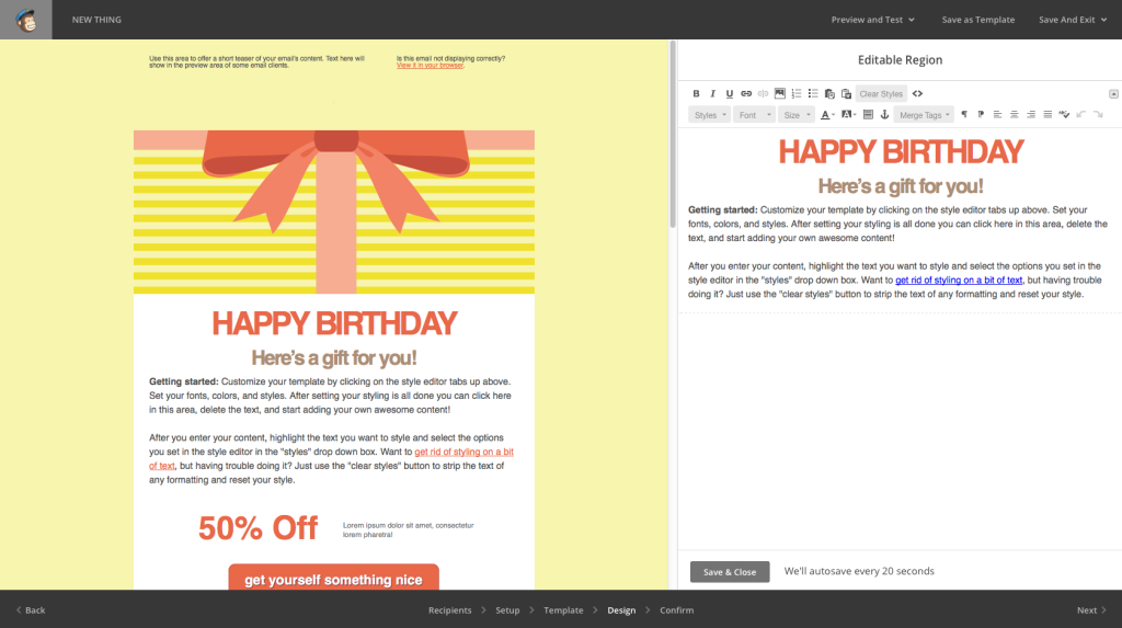 Image of a Mailchimp birthday email, an example of relationship marketing.