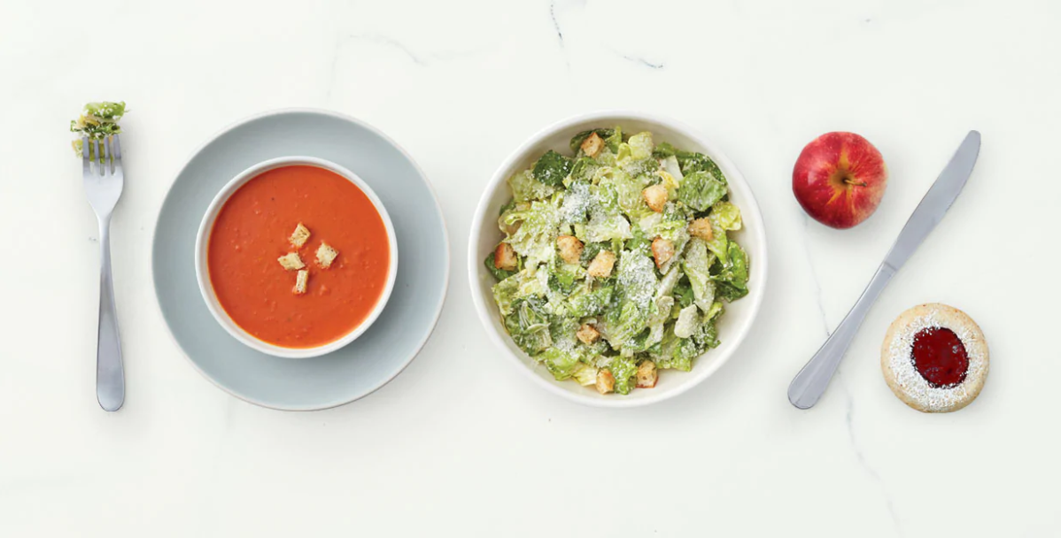 Image of a soup and salad meal. Represents relationship marketing from Panera.