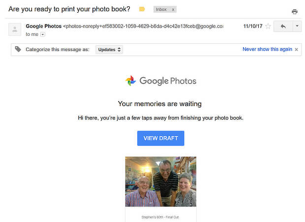 Screenshot of abandoned cart email message from Google Photos.