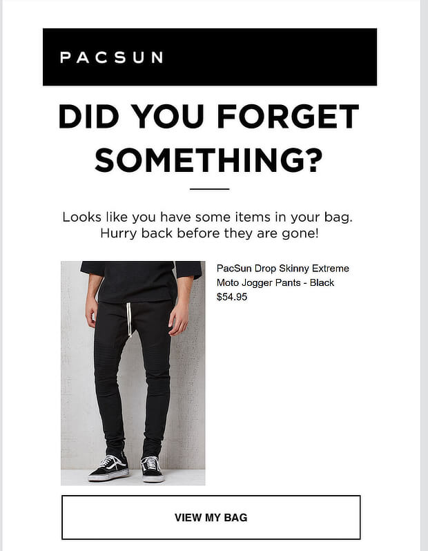 Screenshot of abandoned cart email from Pacsun.